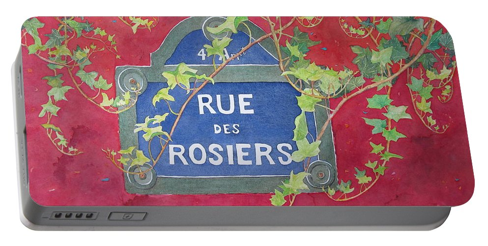 Red Wall Portable Battery Charger featuring the painting Rue Des Rosiers In Paris by Mary Ellen Mueller Legault