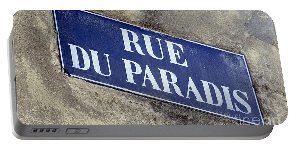Rue Du Paradis Portable Battery Charger featuring the photograph Rue Du Paradis Street Sign by Ros Drinkwater