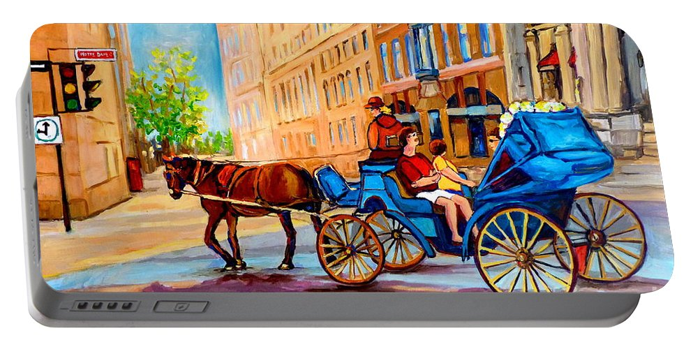 Rue Notre Dame Portable Battery Charger featuring the painting Rue Notre Dame Caleche Ride by Carole Spandau