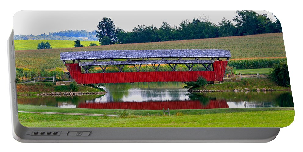 Architecture Portable Battery Charger featuring the photograph Ruffner Covered Bridge by Jack R Perry