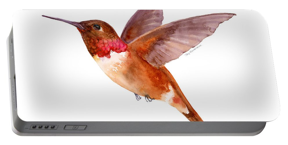 Bird Portable Battery Charger featuring the painting Rufous Hummingbird by Amy Kirkpatrick