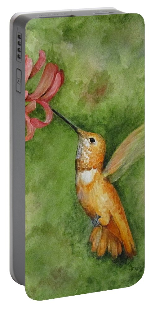 Hummingbird Portable Battery Charger featuring the painting Rufous Hummingbird by Catherine Howley
