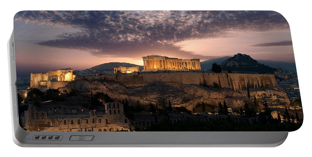 Photography Portable Battery Charger featuring the photograph Ruins Of A Temple, Athens, Attica by Panoramic Images