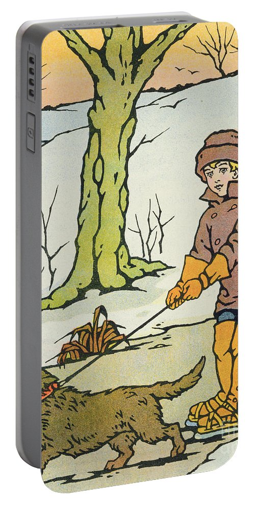 Winter Portable Battery Charger featuring the painting Run Dandy Run by Anonymous