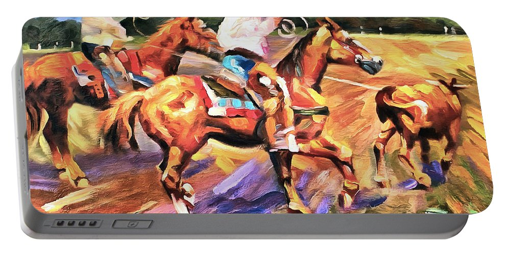 Studio Artist Portable Battery Charger featuring the painting Runaway by Studio Artist