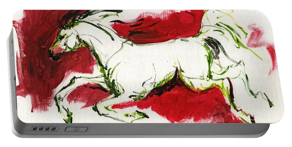 Horse Portable Battery Charger featuring the painting Running by Angel Ciesniarska