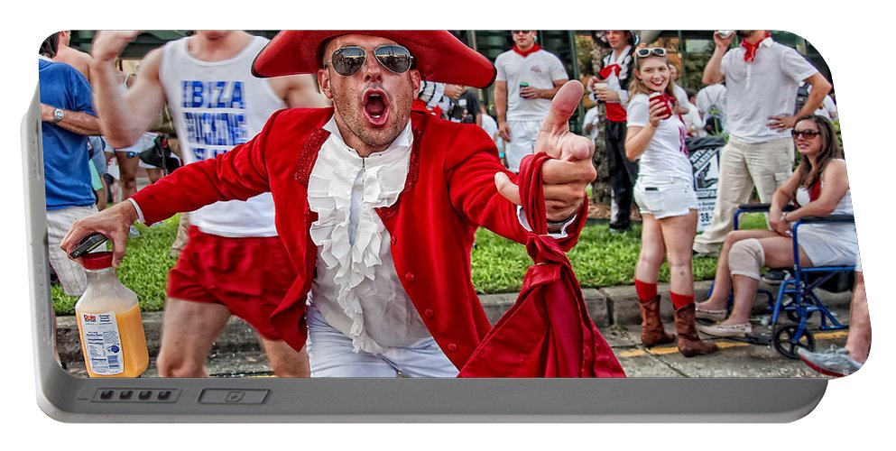 Running Portable Battery Charger featuring the photograph Running Of The Bulls New Orleans Matador by Kathleen K Parker