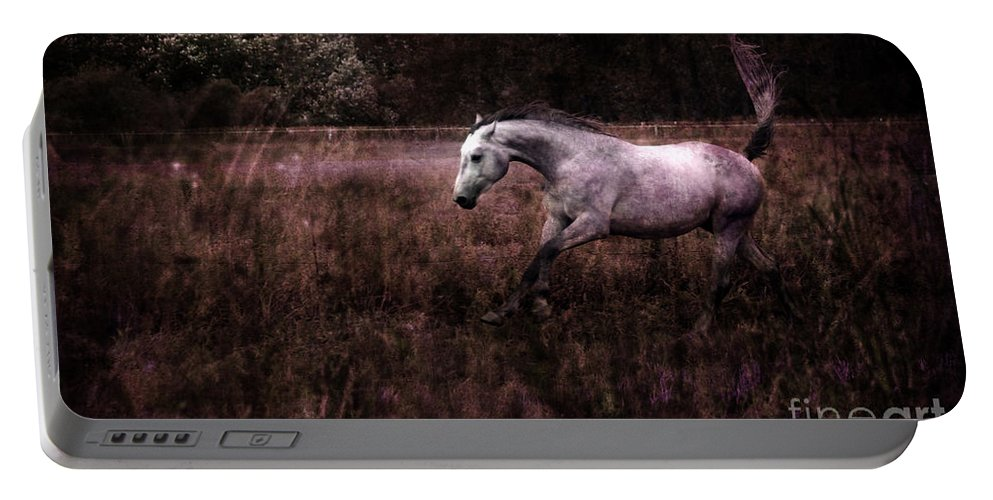 Grey Horse Portable Battery Charger featuring the photograph Running Through The Purple World by Angel Ciesniarska