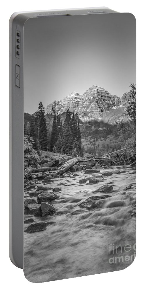 Colorado Portable Battery Charger featuring the photograph Runoff Bw by Michael Ver Sprill