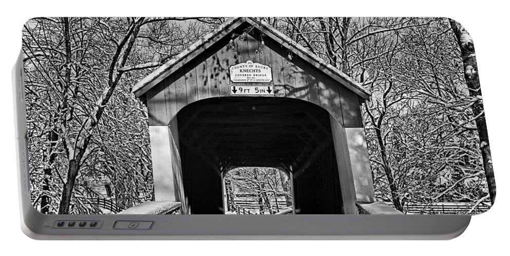 Black And White Portable Battery Charger featuring the photograph Rural Winter by DJ Florek