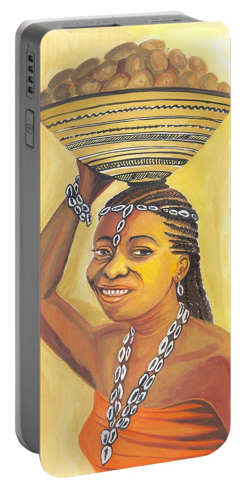 Africa Portable Battery Charger featuring the painting Rural Woman From Cameroon by Emmanuel Baliyanga