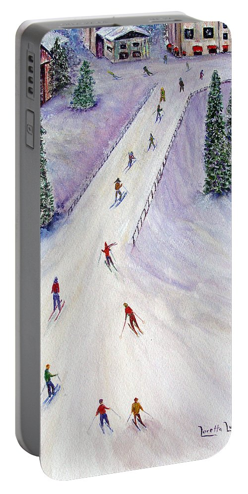 Snow Portable Battery Charger featuring the painting Rush Hour by Loretta Luglio