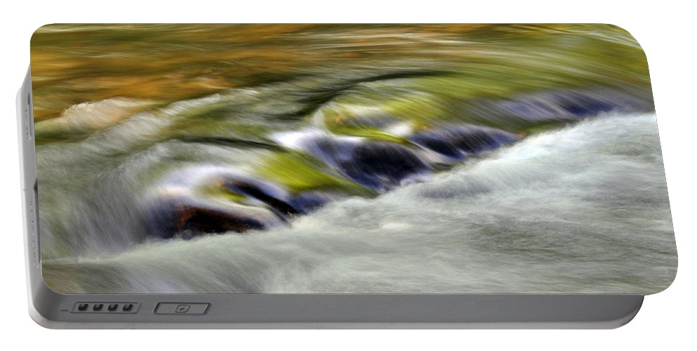 Nature Portable Battery Charger featuring the photograph Rushing Water by Kay Lovingood