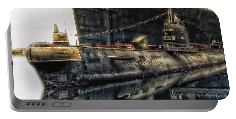 Submarine Portable Battery Charger featuring the photograph Russian Submarine Extreme by Thomas Woolworth