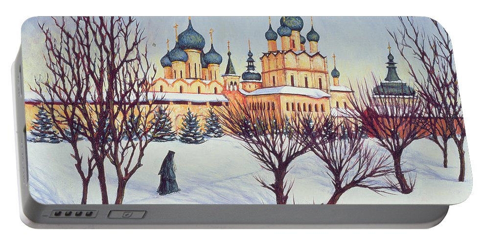 Russian Winter Portable Battery Charger featuring the painting Russian Winter by Tilly Willis