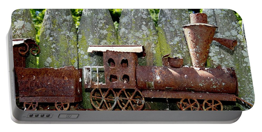 Abstract Portable Battery Charger featuring the photograph Rusted Rails by Ed Weidman