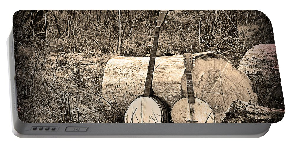 Rustic Portable Battery Charger featuring the photograph Rustic Banjos by Bill Cannon