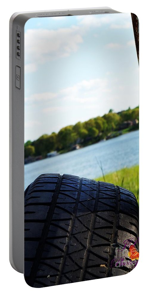 Tire Portable Battery Charger featuring the photograph Rustic Lake Scene 1 by Jannice Walker