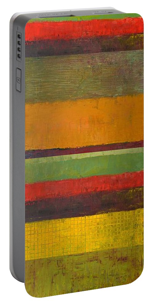 Abstract Portable Battery Charger featuring the painting Rustic Layers 3.0 by Michelle Calkins