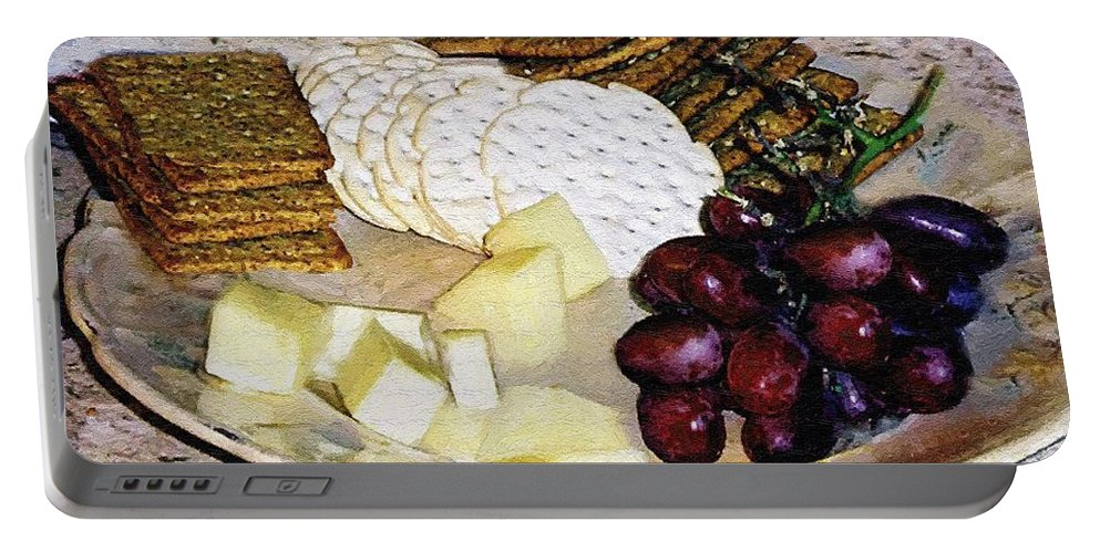 Cheese Portable Battery Charger featuring the painting Rustic Repast by RC DeWinter