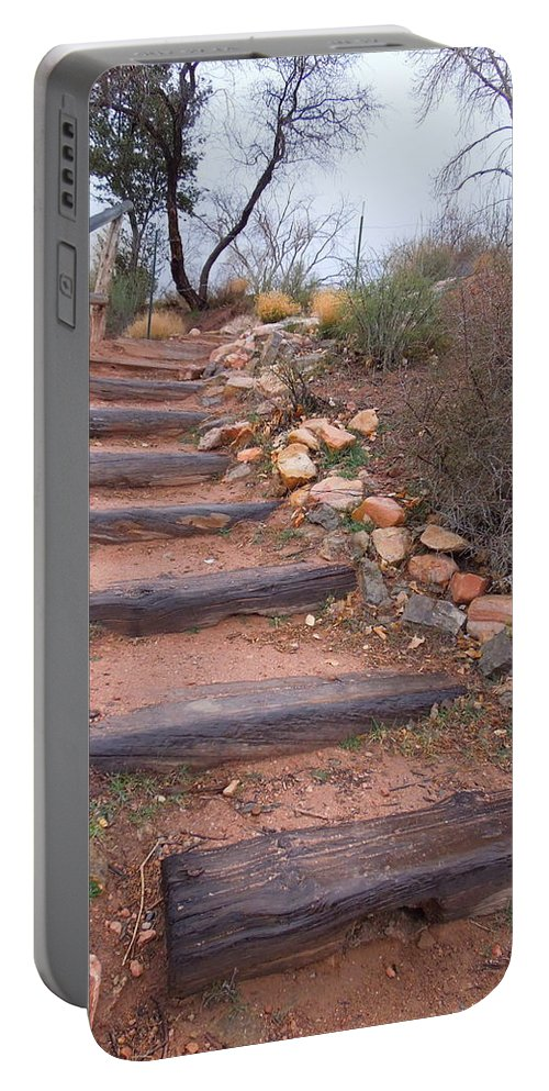 Rustic Portable Battery Charger featuring the photograph Rustic Stairway by Donna Jackson