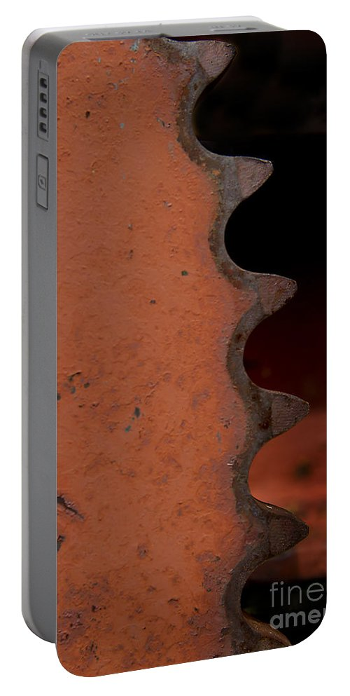 Gear Portable Battery Charger featuring the photograph Rusting Orange Gear  #0007 by J L Woody Wooden
