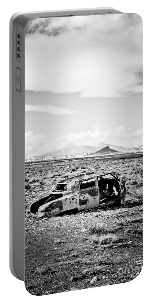 Old Car Portable Battery Charger featuring the photograph Rusty Car In Snow 1 by Scott Sawyer