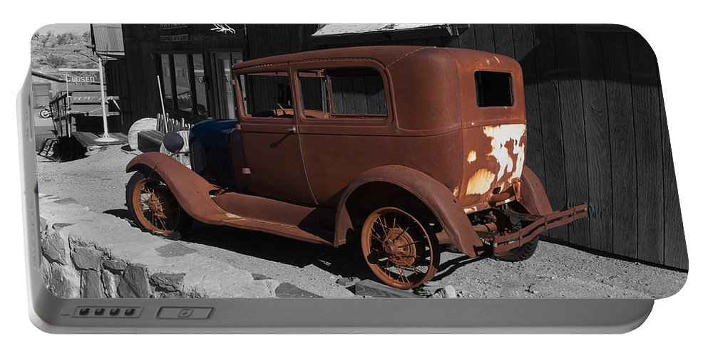 Randsburg Portable Battery Charger featuring the photograph Rusty Ford by Richard J Cassato