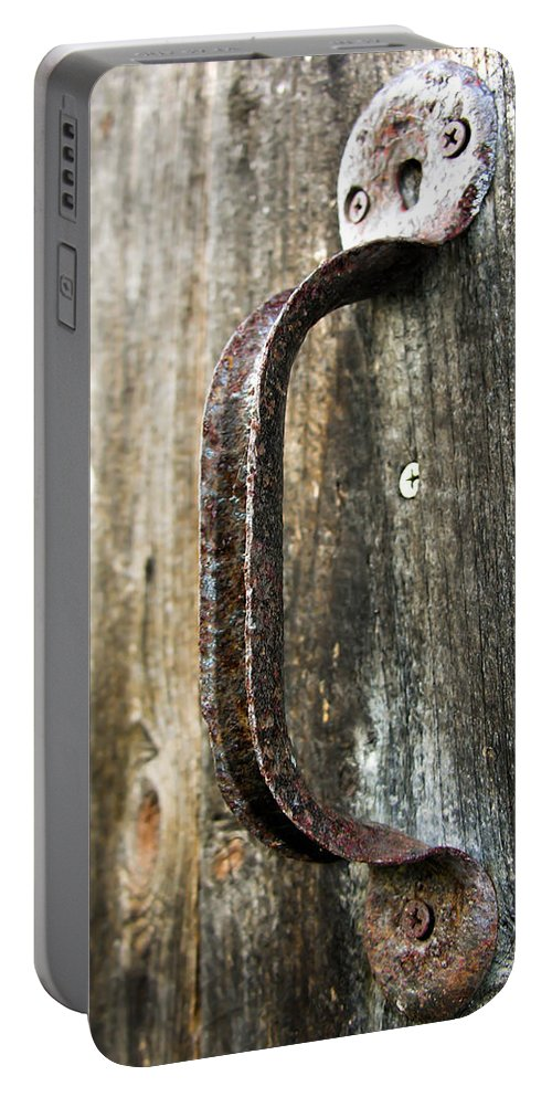 Rust Portable Battery Charger featuring the photograph Rusty Handle by Sherman Perry