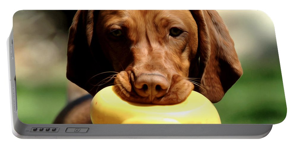 Dog Portable Battery Charger featuring the photograph Rusty Has A Duck by Dianne Phelps