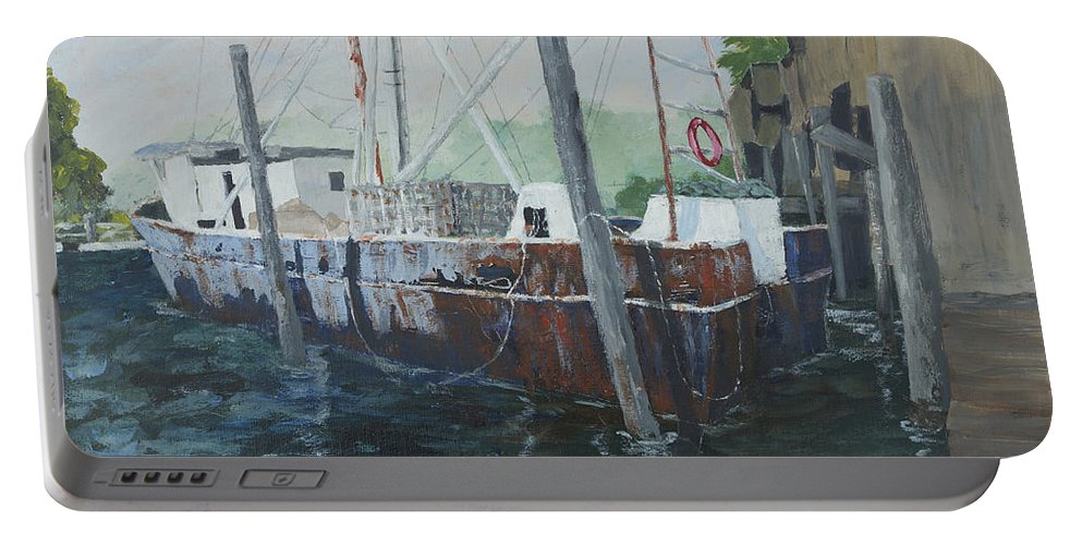 Sailing Portable Battery Charger featuring the painting Rusty by Kathy Przepadlo