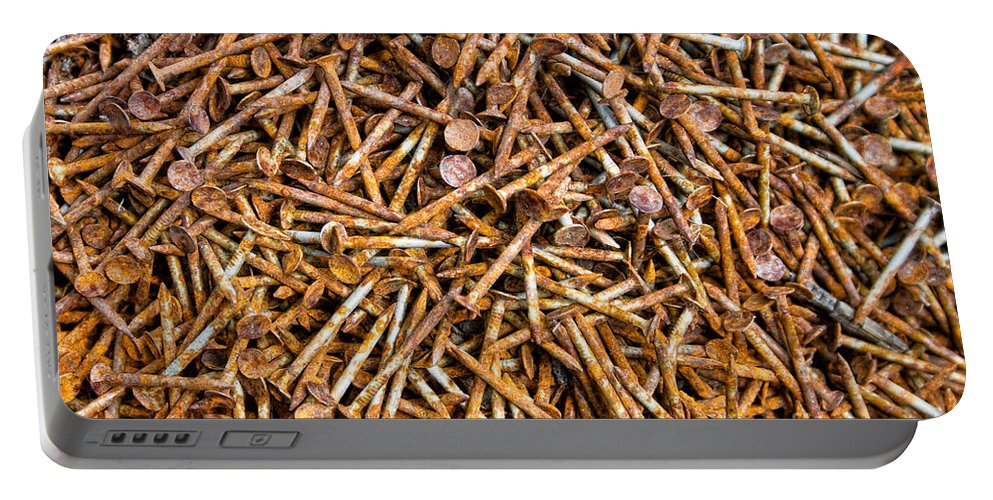 Rust Portable Battery Charger featuring the photograph Rusty Nails Abstract Art by James BO Insogna