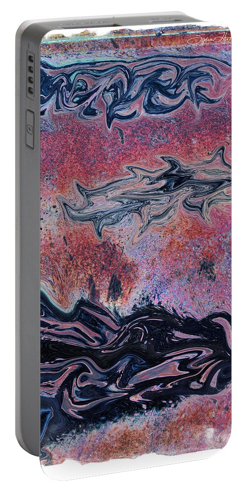 Pink Abstract Portable Battery Charger featuring the photograph Rusty Pink by Sylvia Thornton