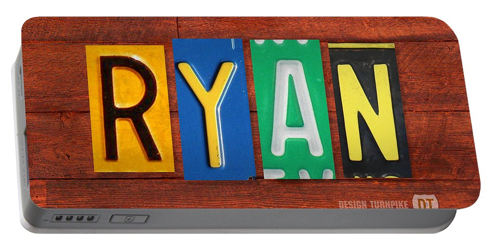License Portable Battery Charger featuring the mixed media Ryan License Plate Name Sign Fun Kid Room Decor. by Design Turnpike