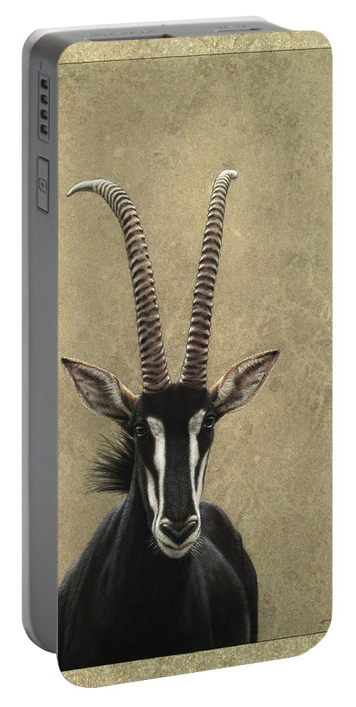 Sable Portable Battery Charger featuring the painting Sable by James W Johnson