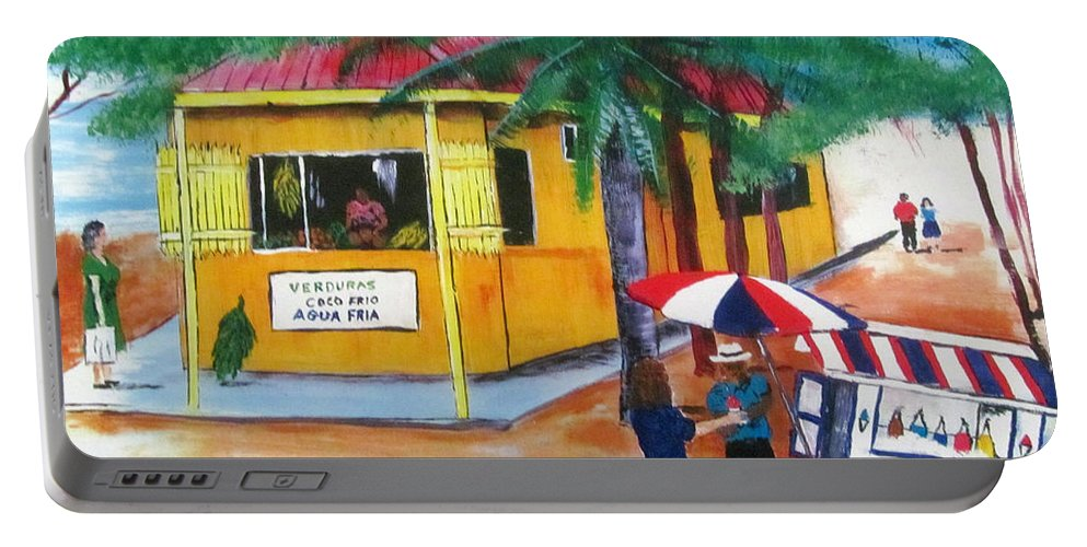 Fishing Market In Isabela Portable Battery Charger featuring the painting Sabor A Puerto Rico by Luis F Rodriguez