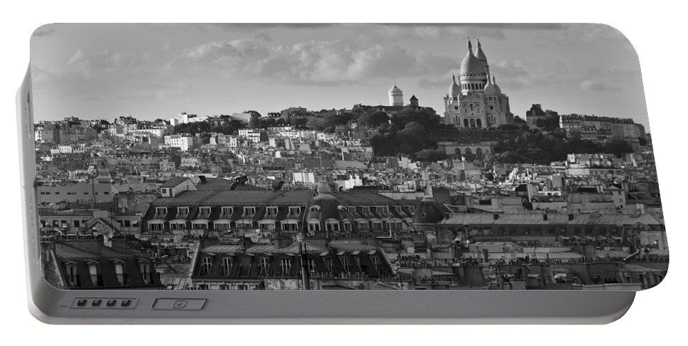 Sacre Coeur Portable Battery Charger featuring the photograph Sacre Coeur Over Rooftops Black And White Version by Gary Eason