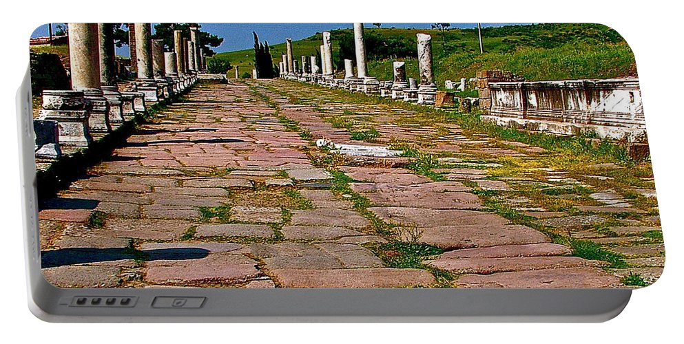 Sacred Road To Asclepion In Pergamum Portable Battery Charger featuring the photograph Sacred Road To Asclepion In Pergamum-turkey by Ruth Hager