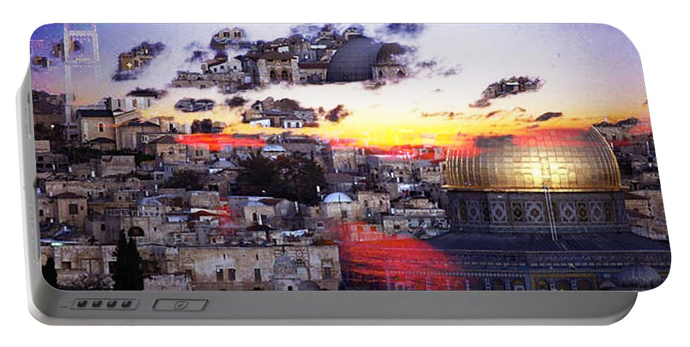 Israel Digital Art Portable Battery Charger featuring the digital art Sacred by Yael VanGruber