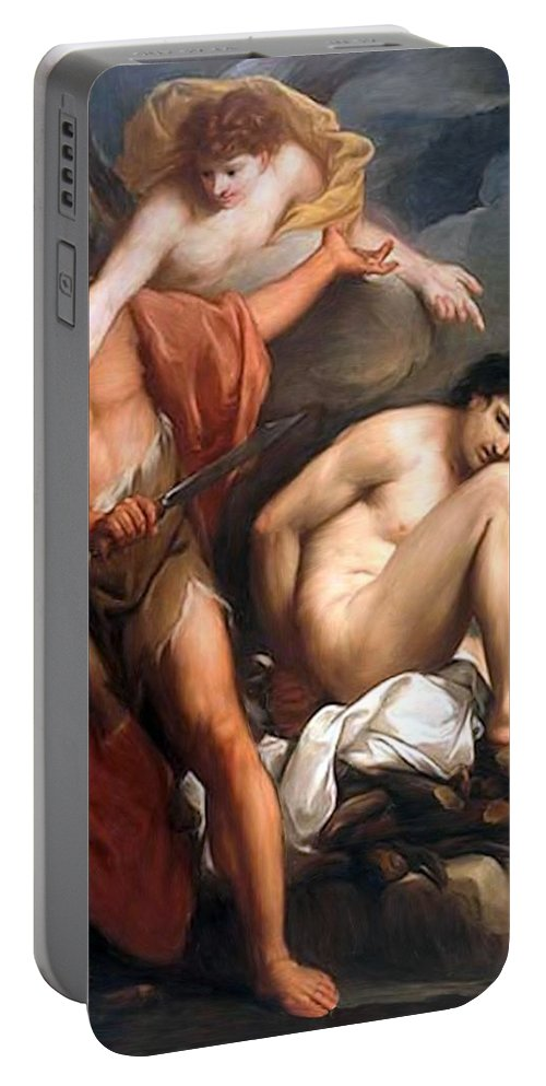 Sacrifice Of Isaac Portable Battery Charger featuring the painting Sacrifice Of Isaac by Gregorio Lazzarini