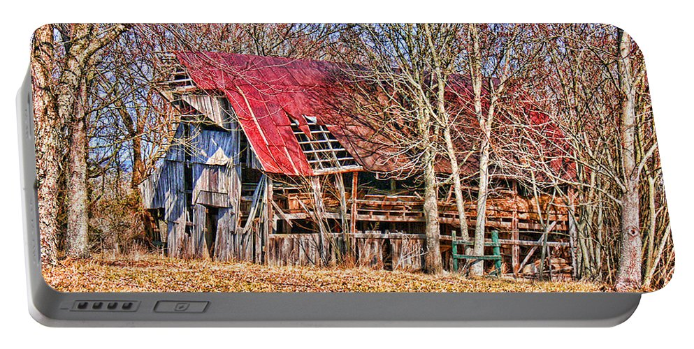 Barn Portable Battery Charger featuring the photograph Sad Barn - Featured In 'old Buildings And Ruins' by Ericamaxine Price