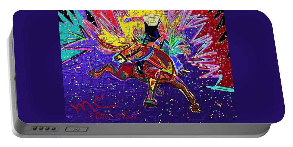 Horse Portable Battery Charger featuring the painting Saddle Bronc by Marie Clark