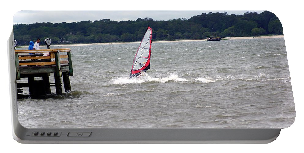Hilton Head Island Beach And Sailboarder Portable Battery Charger featuring the photograph Sailboarder At Hilton Head Island Beach by Kim Pate