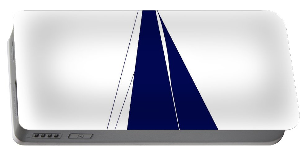 Graphic Art Portable Battery Charger featuring the photograph Sailboat In Navy And White by Jackie Farnsworth