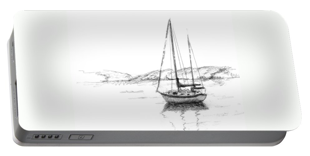 Landscape Portable Battery Charger featuring the drawing Sailboat by Sarah Parks