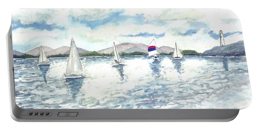 Sailboats Portable Battery Charger featuring the painting Sailboats by Derek Mccrea
