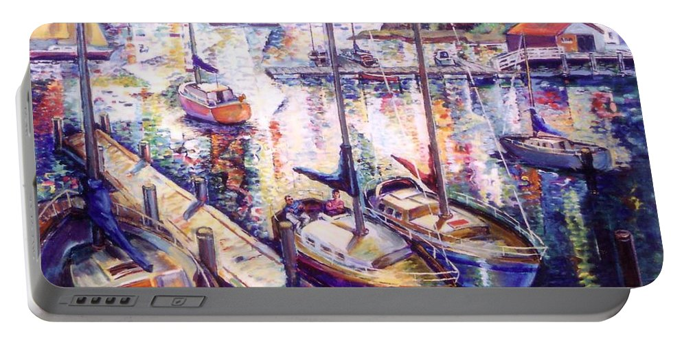 Sailboats Portable Battery Charger featuring the painting Sailboats by Stan Esson