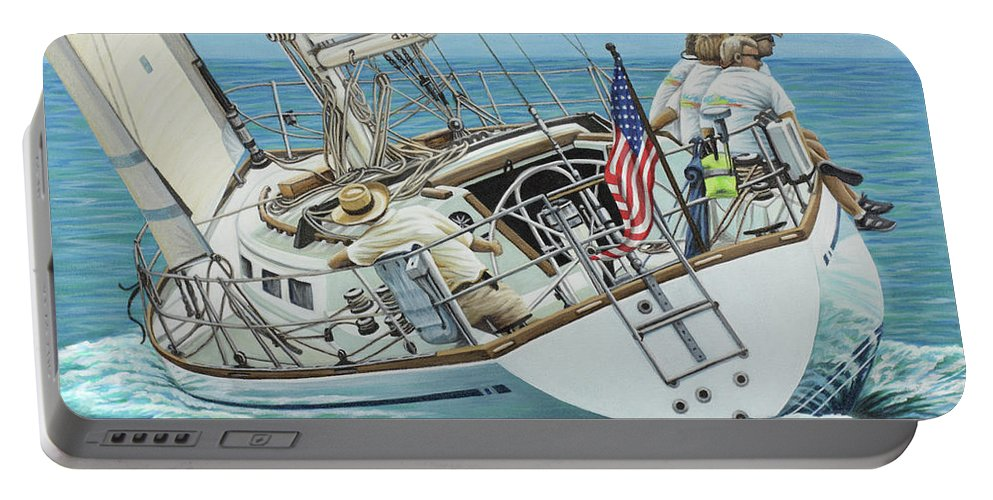 Ocean Portable Battery Charger featuring the painting Sailing Away by Jane Girardot