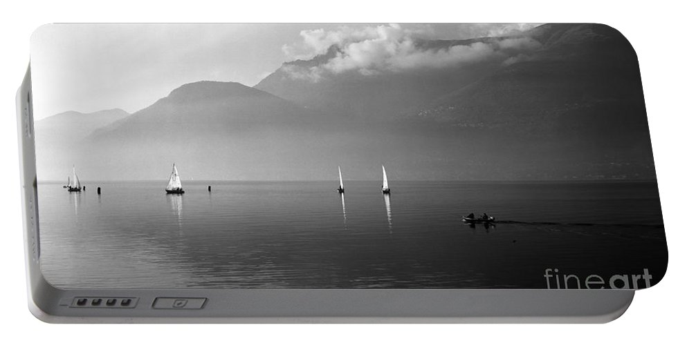 Lario Portable Battery Charger featuring the photograph Sailing Boats On Como Lake by Riccardo Mottola