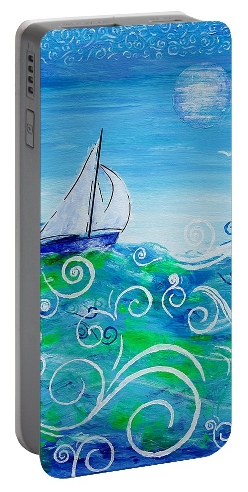 Sailing Portable Battery Charger featuring the painting Sailing By Jan Marvin by Jan Marvin